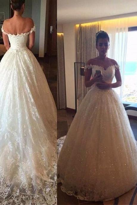 Off The Shoulder Ball Gown Wedding Dress,Long Train Lace Wedding Dress, Princess Bridal Dress, White Lace Wedding Gowns