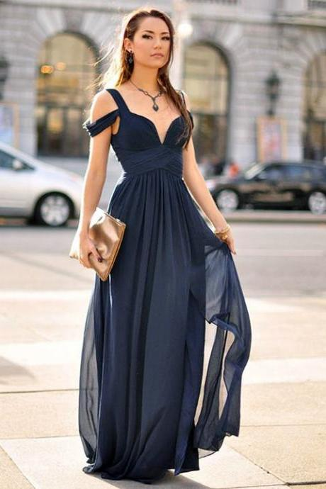 Off The Shoulder Navy Blue Evening Dress, Pleated Formal Dress, Sexy Evening Gown, Party Dress 2018