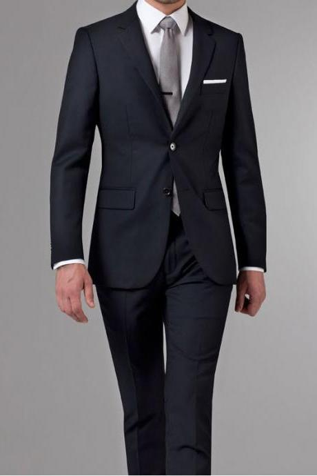 Blazer Masculino Custom Made Tuxedo Slim Fit Wedding Suits 2 Pieces for Men (jacket+pants)