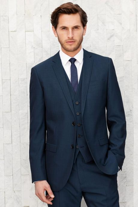 Navy Blue Men Blazer Masculino Custom Made Tuxedo Slim Fit Wedding Suits 3 Pieces for Men (jacket+pants+vest)