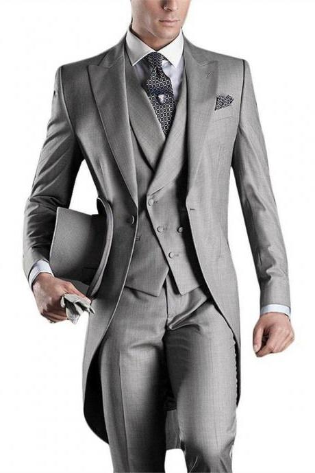 Grey Men Blazer Tailcoat Groomsman Long Men's Wedding Suit Mens Suits Homens Blazer Wedding Groom