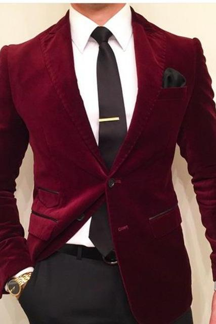 Wine Red Velvet Slim Fit Men Suit Costume Homme Vest Formal Business Mens Blazer Suit mens Suits Wedding Groom(Jacket+Pants)