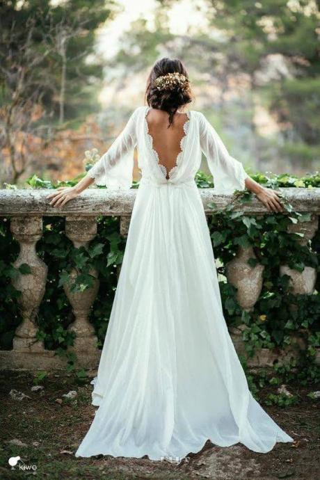 2017 Boho Country Style Wedding Dresses ,Boat Neck A Line Chiffon Wedding Dress With Lace 3 4 Sleeves Open Back Beach Bridal Gowns